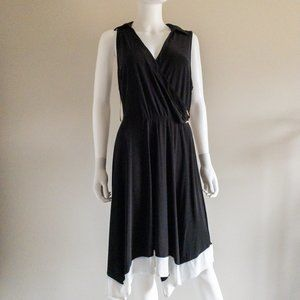 Love Squared Black and White Belted Dress